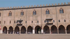 Tourists visiting Ducal Palace in Mantua Stock Footage