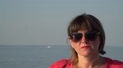 Portrait of a woman floating on the ship Stock Footage