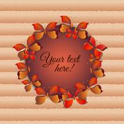 Round frame with 3d paper butterflies and carton background. Stock Illustration