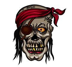 Danger pirate skull in red bandane Stock Illustration