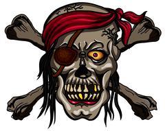 Danger pirate skull in red bandanna and crossbones Stock Illustration