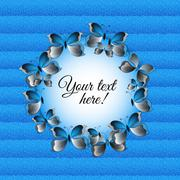 Round frame with 3d paper butterflies and carton background. - stock illustration