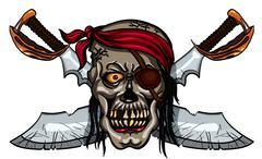 Pirate skull and crossed swords - stock illustration