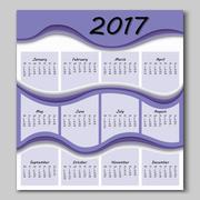 abstract waves calendar 2017 year - stock illustration