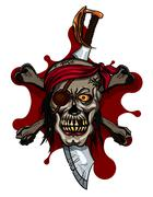 Pirate Skull in Red Headband with Cross Swords Stock Illustration