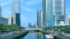 Dubai Jumeira Marina Canal video 4k. Buildings Skyscrapers United Arab Emirates Stock Footage