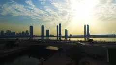 Sunset Cityscape Scyscrapers in Sharjah panoramic. Travel United Arab Emirates Stock Footage