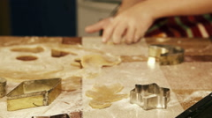 Sliding camera: a process of preparing Christmas gingerbread of different forms Stock Footage