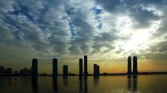 Sunset Cityscape Scyscrapers in Sharjah panorama. Travel in United Arab Emirates Stock Footage
