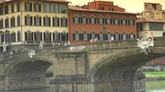 ULTRA HD 4K, Ponte Vecchio and other Old Bridge in Florence, Italy. Stock Footage