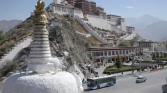 Potala place and stupa in Lhasa. Monastery in Tibet. Potala temple - stock footage