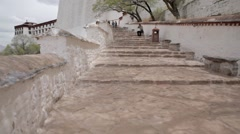 Staircase in the Potala. Potala place in Lhasa. Monastery in Tibet - stock footage