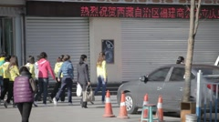 Traditional Chinese gymnastics in the street Stock Footage