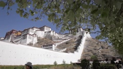 Staircase and wall of the Potala. Potala place in Lhasa Stock Footage