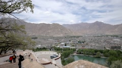 View of the Lhasa city from the height of the Potala temple Stock Footage
