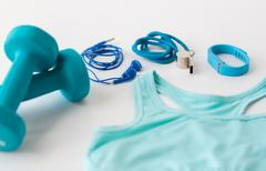 Close up of fitness tracker, earphones and whistle Kuvituskuvat