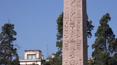 Egyptian obelisk detail inscriptions in Rome People's Square piazza del popolo - stock footage