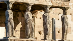Marble Statues of Ancient Caryatids in Acropolis Motion Stock Footage
