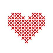 Hand-made red heart embroidered with a cross Stock Illustration