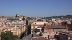 Panoramic shot above Rome city aerial view basilica Saint Peter cupola dome 4K Stock Footage