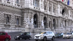 Rome city street car traffic in summer small cars driving on road Italy motion Stock Footage