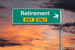 Retirement Exit Only Freeway Sign with Sunrise Sky Stock Photos