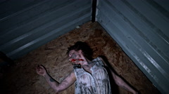 4k Horror Shot of a Dirty Zombie Woman Moving Weird - stock footage