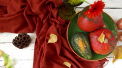 Camera slides across the autumnal still life with vegetables Stock Footage