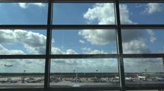 4k Terminal window airfield view landing aeroplane Airport Frankfurt Main Stock Footage