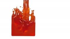 orange liquid fills up a rectangular container - stock footage
