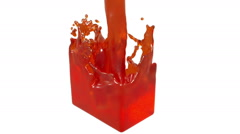 Orange fluid fills up a rectangular container Stock Footage