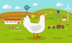 Hen on Farmyard Concept Illustration Piirros