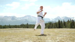 Man and kung fu on nature Stock Footage