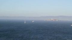 Alcatraz Prison boats time lapse Stock Footage