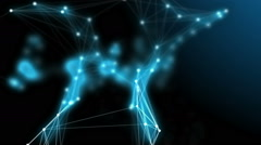 Futuristic technology motion background. Flowing nodes in network connection Stock Footage