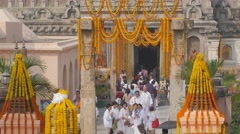Crowded entrance of the temple,BodhGaya,Mahabodhi Temple Complex,India Stock Footage