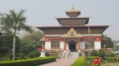 Bhutan temple and gardens,BodhGaya,India Stock Footage