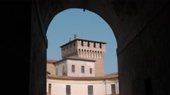 View of Tower of Saint George castle in Mantua seen from an arch Stock Footage
