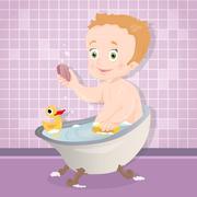 Baby taking a bath - stock illustration