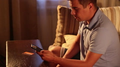 Man entering credit card data and making online money transfer using smartphone. Stock Footage