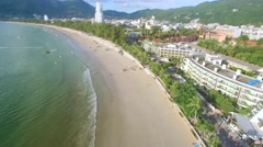 Drone Flying along Patong Beach Phuket With Camera Tilt Stock Footage