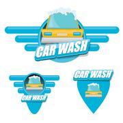 vector Car wash icons set isolated on white - stock illustration