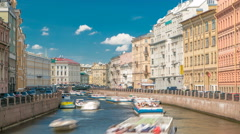 Traffic of touristic cruise boats on the Moyka River timelapse in Saint Stock Footage