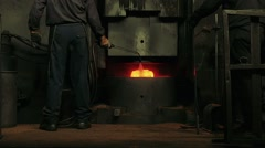 Forging steel machine, slow motion Stock Footage