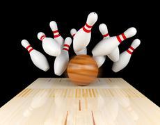 Bowling strike, scattered skittle and bowling ball with motion blur - stock illustration