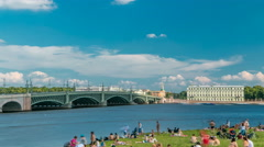 View of the Trinity Bridge and beach near Peter and Paul Fortress across the Stock Footage