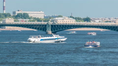 Meteor speedboat on the Neva river timelapse, St. Petersburg, Russia Stock Footage