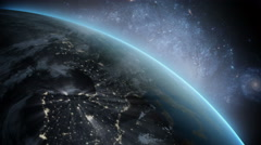Planet Earth as seen from space. With stars background. realistic 3d animation Stock Footage