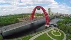 Zhivopisny suspension bridge aerial landscape Stock Footage