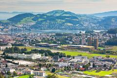 View from the mountains to the city of Lucerne - stock photo